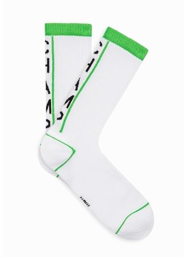 Mavi Champ Baskılı  Soket Çorap Beyaz